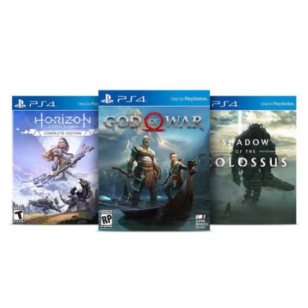 Kit God of War + Horizon Zero Dawn Complete Edition + Shadow of the Colossus (Caixa de Papel) - PS4