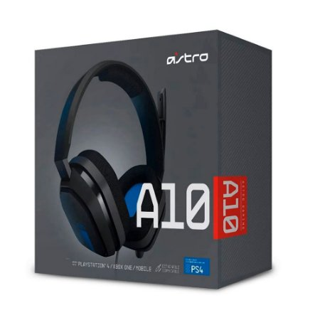 Headset Astro Gaming A10 - PlayStation, Nintendo Switch, PC, Xbox - Preto/Azul