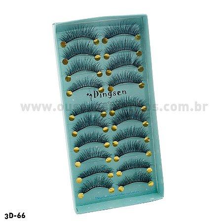 Cílios Postiços 3d-66 Cartela com 10 Pares