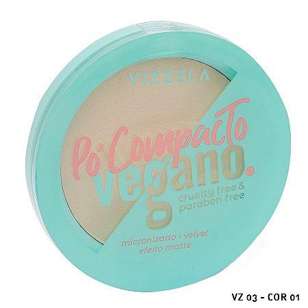 Pó Compacto Vegano Cruelty Free Vizzela cores claras e medianas