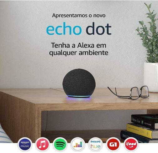 Novo Echo Dot (4ª Geração): Smart Speaker com Alexa - Preto ou Cinza
