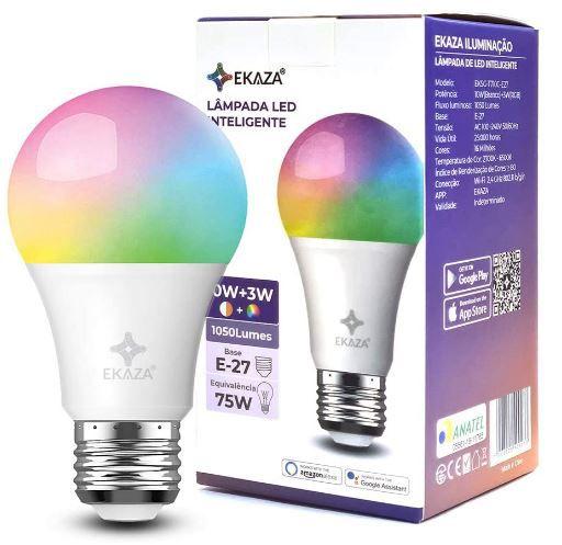Lâmpada Smart Bulbo Led Wi-fi Inteligente 10w + 3w Rgb