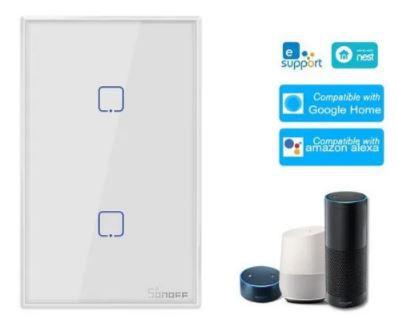 Sonoff T0us2c-tx 2 Gang Interruptor De Luz Wifi Inteligente