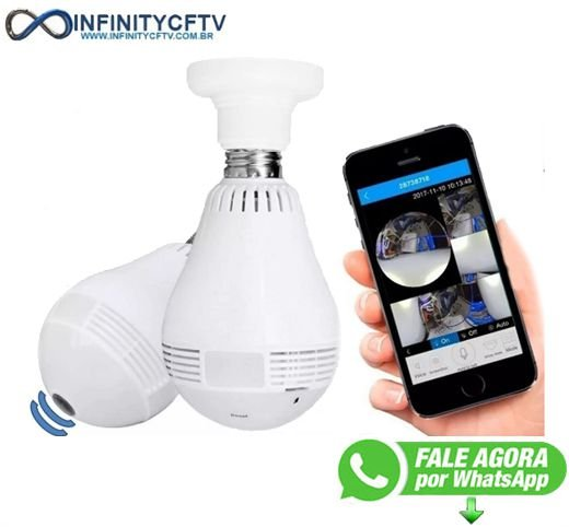 Camera Ip Seguraca Lampada Vr 360 Panoramica Espia Wifi V380 - Infinitycftv Santa Efigênia