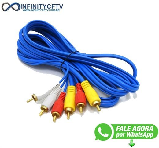 Cabo De Áudio E Vídeo Rca3/rca3 Av 3 Metros Azul infinitycftv