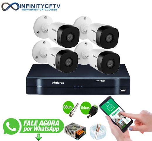 Kit Intelbras 4 Câmeras HD 720p + DVR 1104 Intelbras - InfinityCftv
