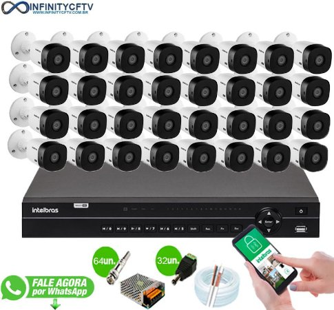 Kit Intelbras 32 Câmeras HD 720p VHL 1120 B + DVR 1132 Intelbras - InfinityCftv