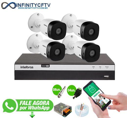 Kit Intelbras 4 Câmeras HD 1080p + DVR 3104 Intelbras - InfinityCftv