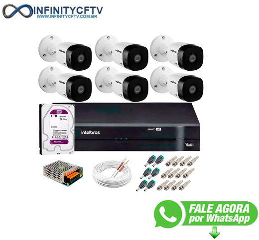 Kit 6 Câmeras VHD 1120 B G5 + DVR Intelbras + HD 1TB para Armazenamento + App Grátis de Monitoramento, Câmeras HD 720p 20m Infravermelho de Visão Noturna Intelbras + Fonte, Cabos e Acessórios-Infinity Cftv