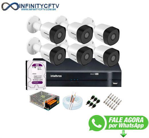 Kit 6 Câmeras VHD 3120 B G6 + DVR Intelbras + HD 1TB para Armazenamento + App Grátis de Monitoramento, Câmeras HD 720p 20m Infravermelho de Visão Noturna Intelbras + Fonte, Cabos e Acessórios-Infinity Cftv