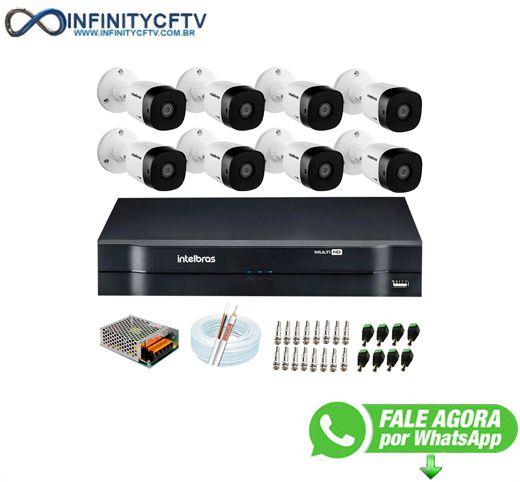Kit 8 Câmeras HD 720p 10m Infravermelho de Visão Noturna VHD 1010 B G6 + DVR Intelbras + App Grátis de Monitoramento-Infinity Cftv