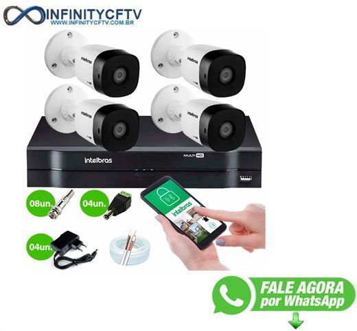 Kit 4 Câmeras VHD 1010 B G6 + DVR Intelbras + App Grátis de Monitoramento, Câmeras HD 720p 10m Infravermelho de Visão Noturna Intelbras + Fonte, Cabos e Acessórios-Infinity Cftv