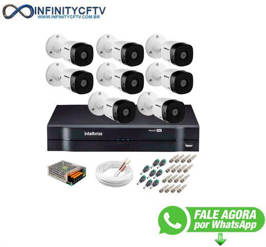 Kit 8 Câmeras HD 720p 20m Infravermelho de Visão Noturna VHD 1120 B G5 + DVR Intelbras + App de Monitoramento + Acessórios-Infinity Cftv