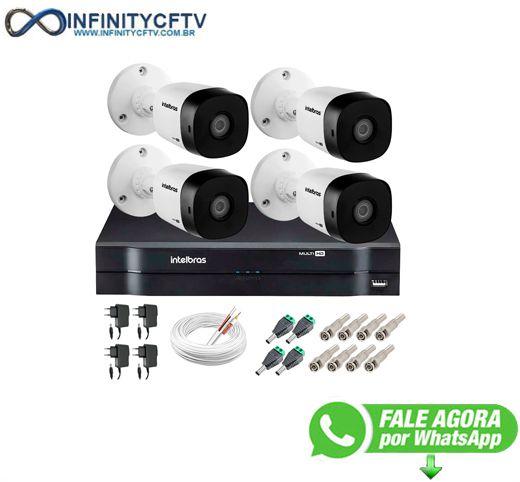Kit 4 Câmeras VHD 1120 B G5 + DVR Intelbras + App Grátis de Monitoramento, Câmeras HD 720p 20m Infravermelho de Visão Noturna Intelbras + Fonte, Cabos e Acessórios-Infinity Cftv