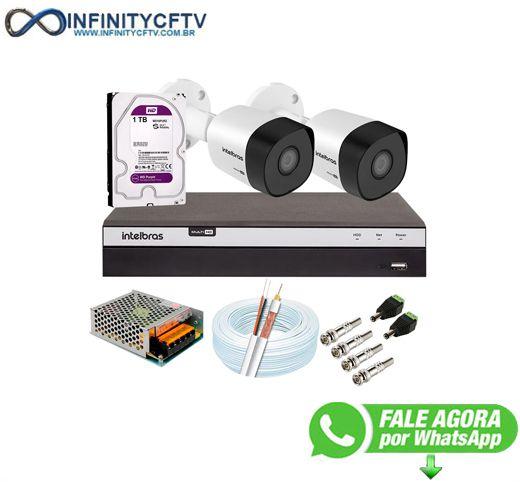 Kit 2 Câmeras de Segurança Full HD + DVR Intelbras MHDX 3104 Full HD de 04 Canais + 1 HD Interno WD Purple 1TB - InfinityCftv