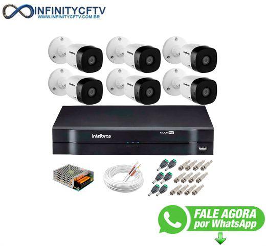 Kit 6 Câmeras VHD 1120 B G5 + DVR Intelbras + App Grátis de Monitoramento, Câmeras HD 720p 20m Infravermelho de Visão Noturna Intelbras + Fonte, Cabos e Acessórios-Infinity Cftv
