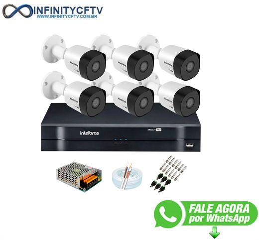 Kit 6 Câmeras VHD 3120 B G6 + DVR Intelbras + App Grátis de Monitoramento, Câmeras HD 720p 20m Infravermelho de Visão Noturna Intelbras + Fonte, Cabos e Acessórios-Infinity Cftv