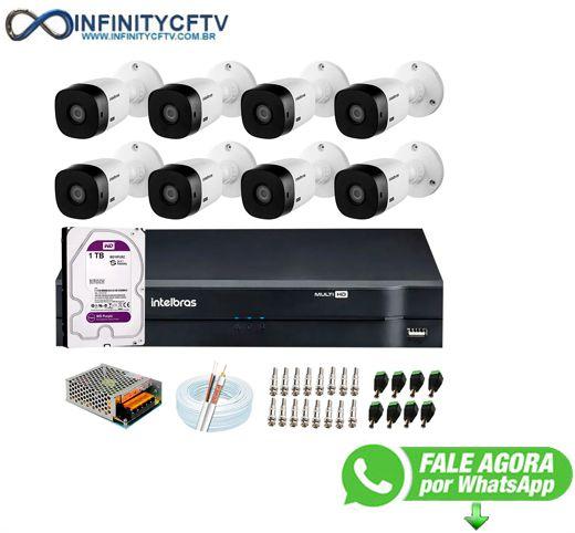 Kit Intelbras 8 Câmeras HD 720p VHL 1120 B + DVR 1108 Intelbras com HD 1TB + Acessórios-Infinity Cftv