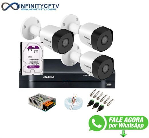 Kit 3 Câmeras VHD 3120 B G6 + DVR Intelbras + HD 1TB para Armazenamento + App Grátis de Monitoramento, Câmeras HD 720p 20m Infravermelho de Visão Noturna Intelbras + Fonte, Cabos e Acessórios-Infinity Cftv
