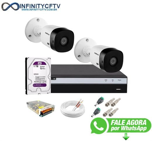 Kit Intelbras 2 Câmeras Full HD 1080p VHL 1220 B + DVR 3104 Intelbras com HD 1TB - InfinityCftv