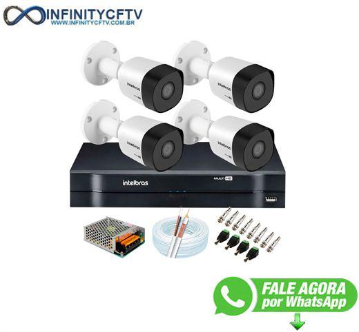 Kit 4 Câmeras VHD 3120 B G6 + DVR Intelbras + App Grátis de Monitoramento, Câmeras HD 720p 20m Infravermelho de Visão Noturna Intelbras + Fonte, Cabos e Acessórios-Infinity Cftv