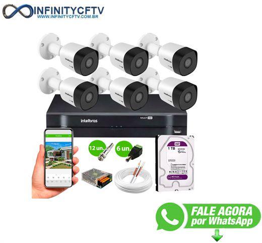 Kit 6 Câmeras VHD 3130 B G6 + DVR Intelbras + HD 1TB para Armazenamento + App Grátis de Monitoramento, Câmeras HD 720p 30m Infravermelho de Visão Noturna Intelbras + Fonte, Cabos e Acessórios-Infinity Cftv