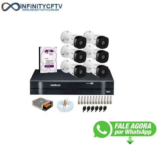Kit Intelbras 6 Câmeras HD 720p VHL 1120 B + DVR 1108 Intelbras com HD 1TB + Acessórios-Infinity Cftv