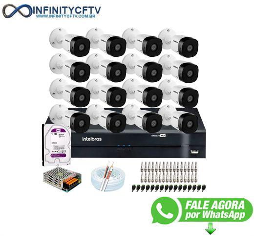 Kit 16 Câmeras VHD 1010 B G6 + DVR Intelbras + HD 1TB + App Grátis, HD 720p 10m Infravermelho + Cabos e Acessórios-Infinity Cftv
