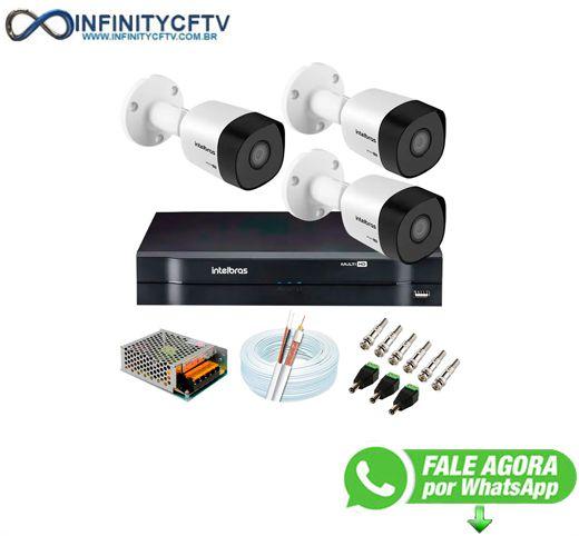 Kit 3 Câmeras VHD 3120 B G6 + DVR Intelbras + App Grátis de Monitoramento, Câmeras HD 720p 20m Infravermelho de Visão Noturna Intelbras + Fonte, Cabos e Acessórios-Infinity Cftv