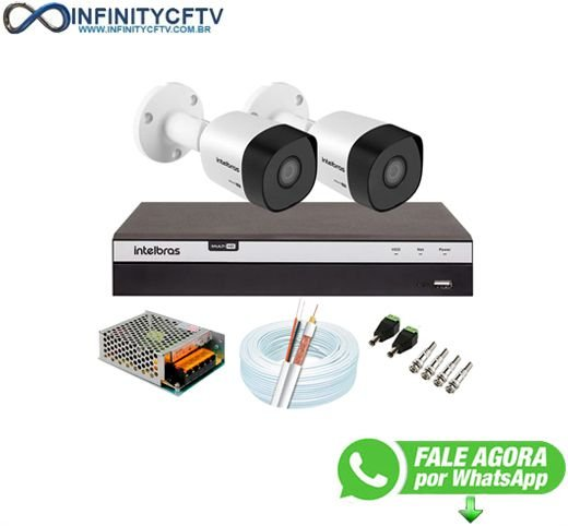 Kit 2 Câmeras de Segurança Full HD 1080p VHD 3230 B G6 + DVR Intelbras MHDX 3108 Full HD de 08 Canais - InfinityCftv