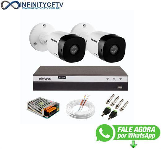 Kit 2 Câmeras de Segurança Full HD Intelbras VHD 1220 B G6 + DVR Intelbras Full HD MHDX 3108 de 8 Canais -InfinityCftv
