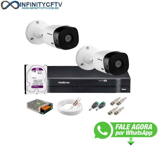 Kit 2 Câmeras Intelbras VHL 1220 B Full HD 1080 Lite + DVR Intelbras + Acessórios Completo - Câmeras com 20m Infravermelho de Visão Noturna- InfinityCftv