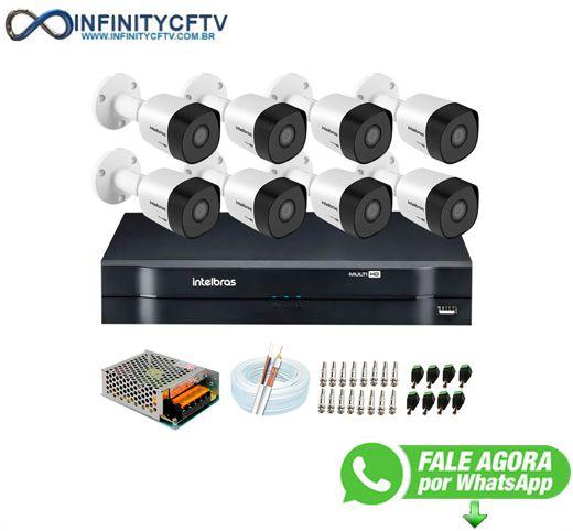 Kit 8 Câmeras VHD 3120 B G6 + DVR Intelbras + App Grátis de Monitoramento, Câmeras HD 720p 20m Infravermelho de Visão Noturna Intelbras + Fonte, Cabos e Acessórios-Infinity Cftv