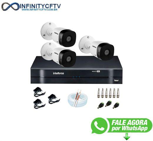 Kit 3 Câmeras VHD 1010 B G6 + DVR Intelbras + App Grátis, HD 720p 10m Infravermelho + Cabos e Acessórios-Infinity Cftv