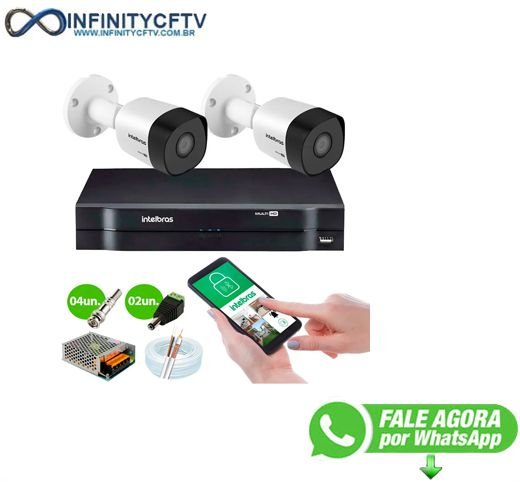 Kit 2 Câmeras VHD 3120 B G6 + DVR Intelbras + App Grátis de Monitoramento, Câmeras HD 720p 20m Infravermelho de Visão Noturna Intelbras + Fonte, Cabos e Acessórios-Infinity Cftv