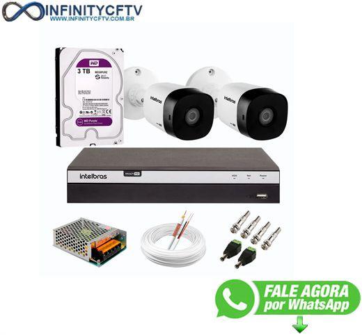 Kit 2 Câmeras de Segurança Full HD 1080p VHD 1220 B G6 + DVR Intelbras MHDX 3104 Full HD de 04 Canais + HD WD Purple 3TB - InfinityCftv