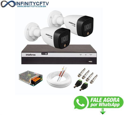 Kit 2 Câmeras de Segurança VHD 1220 B Full Color de Alta Definição Full HD 1080p + DVR Intelbras Full HD MHDX 3104 de 04 Canais - InfinityCftv