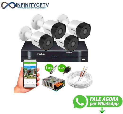 Kit 4 Câmeras VHD 3130 B G6 + DVR Intelbras + App Grátis de Monitoramento, Câmeras HD 720p 30m Infravermelho de Visão Noturna Intelbras + Fonte, Cabos e Acessórios-Infinity Cftv