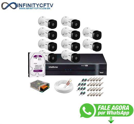 Kit 10 Câmeras VHD 1120 B G5 + DVR Intelbras + HD 1TB para Armazenamento + App Grátis de Monitoramento, Câmeras HD 720p 20m Infravermelho-Infinity Cftv