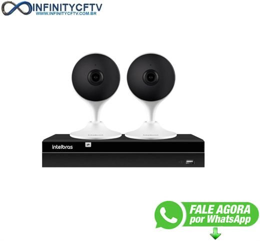Kit 2 Câmeras com Inteligência Artificial Full HD iM3 Intelbras Branca + 1 NVR Stand Alone 04 Canais 6MP NVD 1304 Intelbras - InfinityCftv