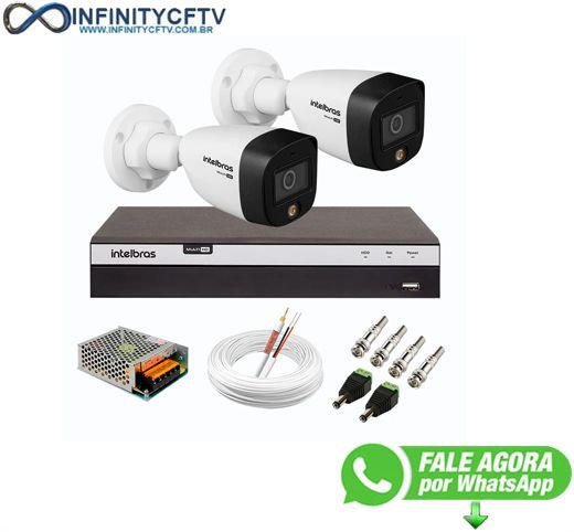 Kit 2 Câmeras de Segurança VHD 1220 B Full Color de Alta Definição Full HD 1080p + DVR Intelbras Full HD MHDX 3108 de 08 Canais InfinityCftv