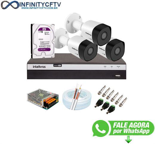 Kit 3 Câmeras de Segurança Full HD 1080p VHD 3230 B G6 + DVR Intelbras MHDX 3104 Full HD de 04 Canais + 1 HD Interno WD Purple 1TB Surveillance SATA III - InfiityCftv