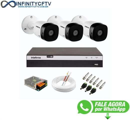 Kit 3 Câmeras de Segurança Full HD Intelbras VHD 1220 B G6 + DVR Intelbras 04 Canais Full HD MHDX 3104 - InfinityCftv