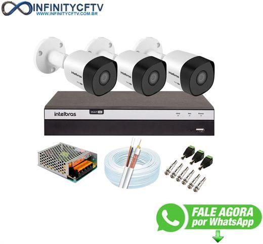 Kit 3 Câmeras de Segurança Full HD 1080p VHD 3230 B G6 + DVR Intelbras MHDX 3108 Full HD de 08 Canais - InfinityCftv