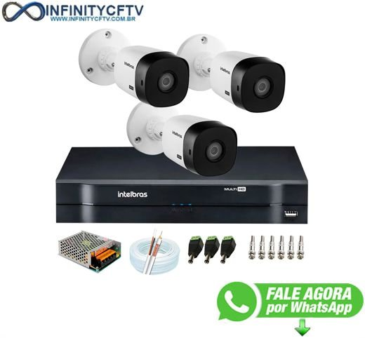 Kit 3 Câmeras Intelbras VHL 1220 B Full HD 1080 Lite + DVR Intelbras + Acessórios Completo - Câmeras com 20m Infravermelho de Visão Noturna- InfinityCftv
