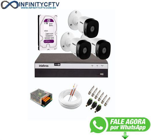 Kit 3 Câmeras de Segurança Full HD 1080p VHD 1220 B G6 + DVR Intelbras MHDX 3108 Full HD de 08 Canais + 1 HD Interno WD Purple 1TB Surveillance SATA III - InfinityCftv