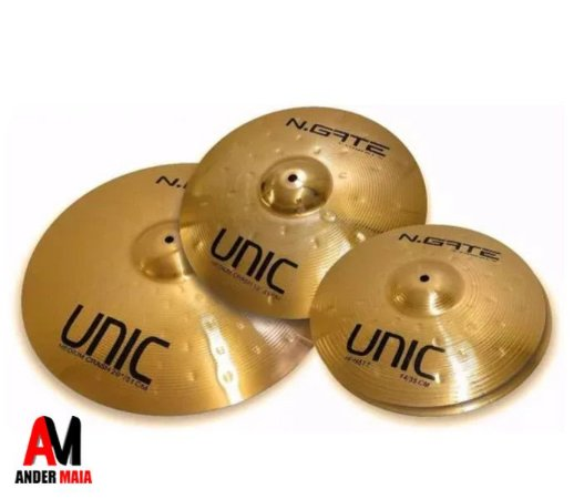 "KIT DE PRATOS NGATE UNIC RIDE 20"" CRASH 16"" HI-HATT 14"" COM BAG"