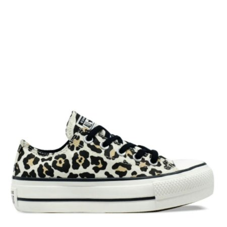 Tênis Converse Chuck Taylor All Star Animal Print Platform Lift Bege Amêndoa CT13090001