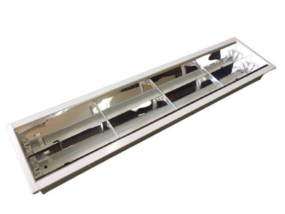 Luminária Comercial 2x9w 625mm tubular T8 - 3 Aletas - P/ Forro Drywall