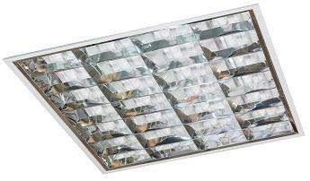 Luminária Comercial 4x9w 625mm Tubular T8 6 Aletas para forro drywall